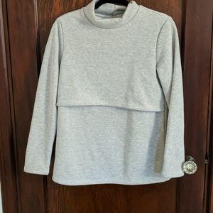 Bearsland Gray Nursing Sweatshirt Fleece Inside